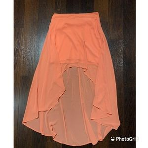 Forever 21 chiffon high-low skirt in coral…